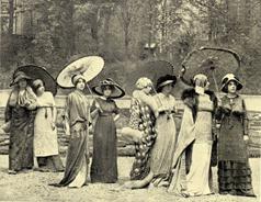 Modelos en el jardín de la casa de modas de Poiret. Hacia 1910. Fotografía: Henri Manuel